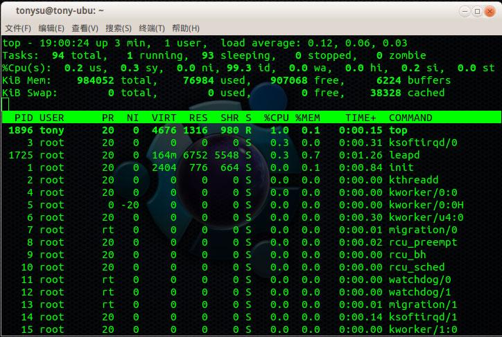 ubilinux 系统资源消耗